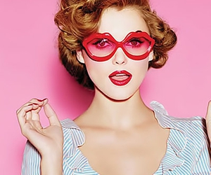 glasses, pink, and red image