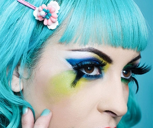 makeup, blue hair, and hair image