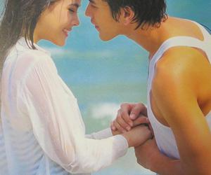 beach, couple, and kiss image
