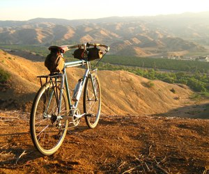 autumn, bike, and camping image