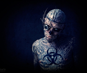 black and white, zombie boy, and rick genest image