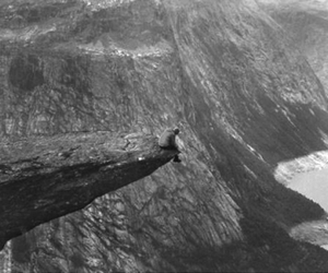alone, cliff, and fog image