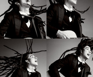 dreads, black and white, and guitar image