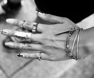 nails, rings, and black and white image