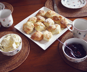 food, scones, and jam image
