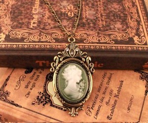 vintage, necklace, and book image