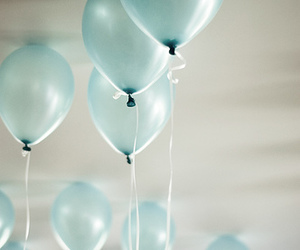 balloons, blue, and white image