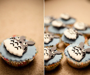 cupcake, totoro, and food image