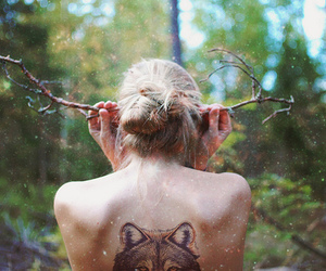 girl, wolf, and tattoo image