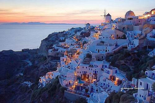 santorini, Greece, and sea image
