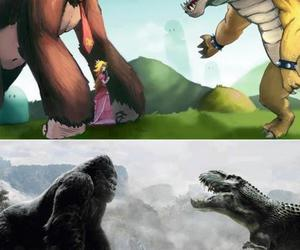Bowser, king kong, and dinosaur image