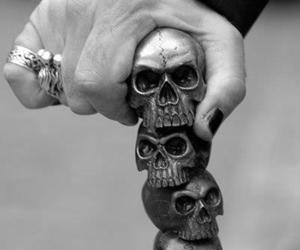 skull, black and white, and hand image