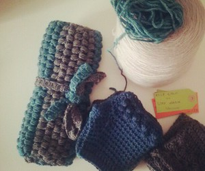crochet, gloves, and packaging image