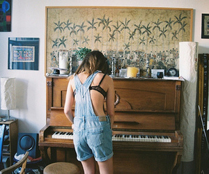 girl, piano, and vintage image