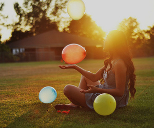 girl, balloons, and sunset image