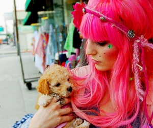 hair, pink hair, and puppy image
