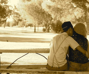 boy and girl and sepia image