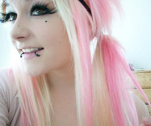 pink, hair, and scene image