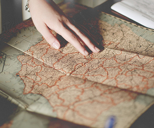 map, vintage, and travel image