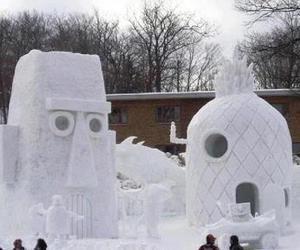 spongebob, snow, and ice image