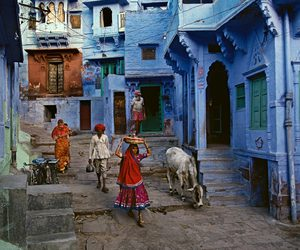 blue, india, and steve mccurry image