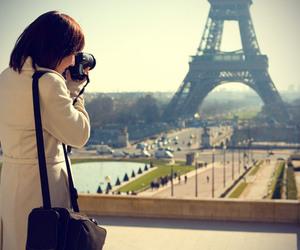 girl, paris, and camera image