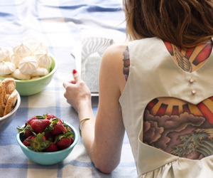 tattoo, girl, and strawberry image