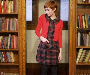 books, cardigan, and dress image