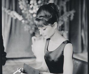 audrey, black and white, and girl image