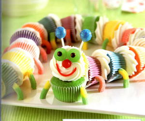 cupcake, food, and caterpillar image