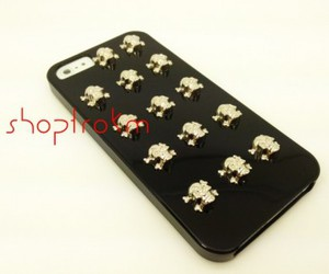 black, skulls, and iphone case image