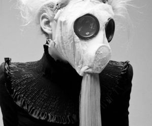 black and white, fashion, and mask image