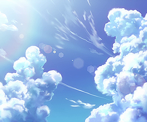 clouds, sky, and anime image