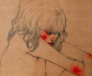 art, blood, and red image