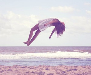 girl, beach, and fly image