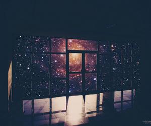 galaxy, stars, and window image