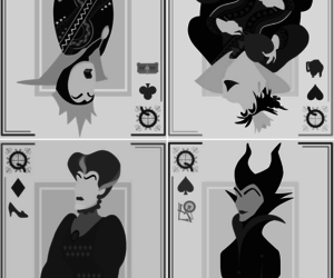 alice in wonderland, black and white, and evil queen image