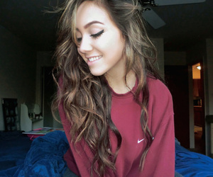 brunette, cute, and curly hair image