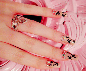 birds, nails, and pink image