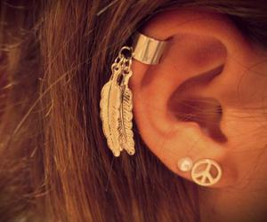 earrings, peace, and ear image