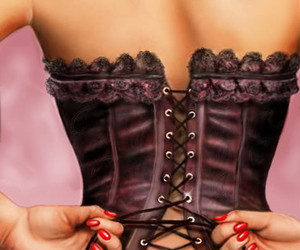 corset, red nails, and tattoo image