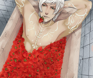 anime, male, and strawberries image