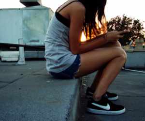 girl, shoes, and sunset image