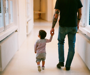 baby, dad, and tattoo image