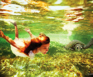 girl, turtle, and water image