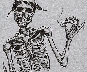 skeleton, smoke, and skull image