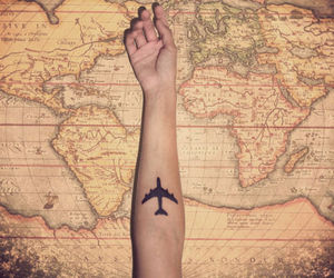 airplane, tattoo, and map image