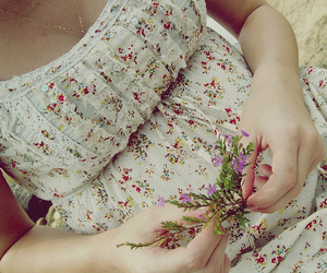 dress, nature, and flower image
