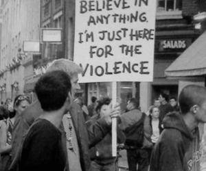violence, black and white, and believe image