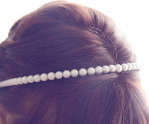 pearls, hair, and pretty image